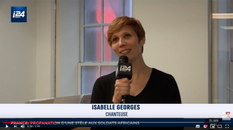 Écran vidéo i24News Isabelle Georges New York